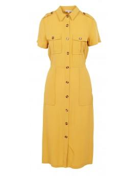 Vestido camisero midi con cinturón en amarillo
